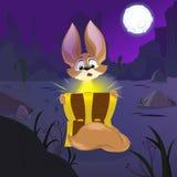 Cartoon Fennec Fox and treasure chest. Night desert backdrop Royalty Free Stock Photos