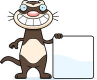 Cartoon Ferret Sign. A cartoon illustration of a ferret with a sign Royalty Free Stock Photography