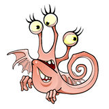 Cartoon fictional character winged three-eyed two mouth. Smile Stock Image