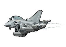 Cartoon Fighter Plane. Vector Cartoon fighter. Available EPS-10 vector format separated by groups and layers for easy edit Stock Images