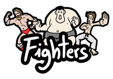 Cartoon fighters Stock Images