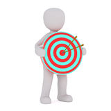 Cartoon Figure with Arrows in Center of Target. 3d Rendering of Cartoon Figure Holding Bulls Eye Target with Two Arrows in Center in front of White Background Stock Photo