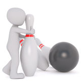 Cartoon Figure with Bowling Pins and Bowling Ball Stock Image