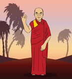 Cartoon figure of buddhist monk. Vector Stock Photo