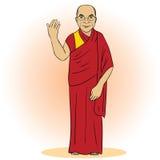Cartoon figure of buddhist monk. Vector Stock Photo