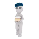 Cartoon Figure in Cap Carrying Stack of Books. Generic Gray 3d Cartoon Figure Wearing Blue Plaid Cap and Sunglasses and Walking with Stack of Books in front of Royalty Free Stock Images