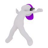 Cartoon Figure in Cap and Headphones Dancing. Generic Gray 3d Cartoon Figure Wearing Purple Cap and Headphones and Dancing Energetically in front of White Stock Images