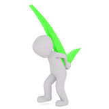 Cartoon Figure Carrying Green Check Mark on Back. 3d Rendering of Cartoon Character Carrying Heavy Bright Green Check Mark Symbol on Back in front of White Royalty Free Stock Photography