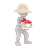 Cartoon Figure Carrying Heavy Basket of Apples. Generic Gray 3d Cartoon Figure Wearing Straw Sun Hat and Carrying Heavy Bushel Basket of Ripe Red Apples in front Royalty Free Stock Photos