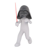 Cartoon Figure in Darth Vader Mask with Sword Stock Image