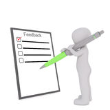 Cartoon Figure Filling Out Feedback Form with Pen. 3d Rendering of Cartoon Figure Filling Out Feedback Form with Large Pen in front of White Background with Copy Royalty Free Stock Photos