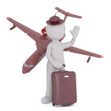 Cartoon Figure Going on Vacation via Airplane. Vacation Travel Themed Image of 3d Cartoon Figure Standing in Fashionable Hat and Holding Suitcase in front of Stock Photo