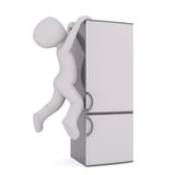 Cartoon Figure Hanging Off Modern Refrigerator. Generic Gray 3d Cartoon Figure Hanging Off Edge of Modern Steel Refrigerator in front of White Background Royalty Free Stock Photo