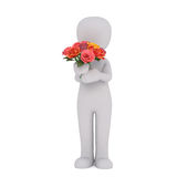 Cartoon Figure Holding Bouquet of Colorful Roses. 3d Rendering of Cartoon Figure Standing in front of White Background and Holding Bouquet of Colorful Roses Royalty Free Stock Images