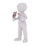 Cartoon Figure Holding Shiny Mirror and Hair Brush Royalty Free Stock Photography