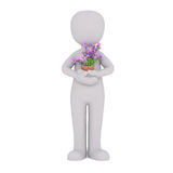 Cartoon Figure Holding Small Potted Plant Stock Photo