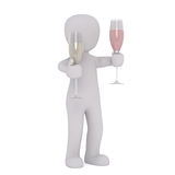 Cartoon Figure Holding Two Champagne Flutes Royalty Free Stock Photos