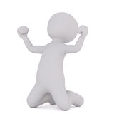 Cartoon Figure on Knees Celebrating. 3d Rendering of Cartoon Figure on Knees Celebrating While Pumping Fists in Air in front of White Background Stock Photos