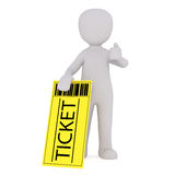 Cartoon Figure with Large Yellow Admission Ticket royalty free illustration