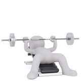 Cartoon Figure Lifting Barbell Weight on Bench. Generic Gray 3d Cartoon Figure Lifting Barbell Weight While Lying on Bench in front of White Background Royalty Free Stock Photos