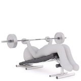 Cartoon Figure Lifting Barbell Weights on Bench. Generic Gray 3d Cartoon Figure Lying on Exercise Bench Lifting Barbell Weights in front of White Background Royalty Free Stock Image