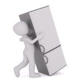 Cartoon Figure Moving Heavy Refrigerator Royalty Free Stock Photos