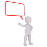 Cartoon Figure with Red Conversation Bubble. 3d Rendering of Cartoon Figure Standing in front of White Background with Extended Hand and Conversation Word Bubble Royalty Free Stock Photos