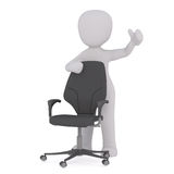 Cartoon Figure Standing by Modern Office Chair. Generic Gray 3d Cartoon Figure Giving Thumbs Up Sign While Standing Next to Modern Office Chair in front of White Stock Photo