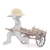 Cartoon Figure in Straw Hat Running with Wood Cart. Generic Gray 3d Cartoon Figure Wearing Straw Sun Hat and Running While Towing Wooden Cart in front of White Stock Photography
