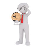 Cartoon Figure Wearing Glasses and Holding Globe. Generic Gray 3d Cartoon Figure Wearing Glasses and Red Neck Tie Standing in front of White Background Holding Royalty Free Stock Image