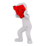 Cartoon Figure Wearing Large Red Devil Mask. 3d Rendering of Cartoon Character Trying on Oversize Red Devil Mask and Crouching in front of White Background Royalty Free Stock Image