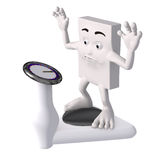 Cartoon figure on weighing scales Royalty Free Stock Photos