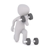 Cartoon Figure Working Out and Lifting Weights. Generic Gray 3d Cartoon Figure Working Out - Lifting Free Dumbbell Weights in front of White Background Royalty Free Stock Images