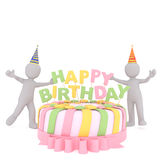 Cartoon Figures Celebrating Beside Birthday Cake Royalty Free Stock Image