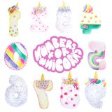 Cartoon figures for a unicorn party. Funny cute unicorn numbers. Colorful numbers for mathematics and kids illustration and birthday Royalty Free Stock Image