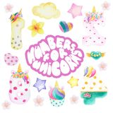 Cartoon figures for a unicorn party stock photography