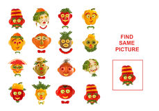Cartoon figures of vegetables and fruits,  illustration of Educa Stock Photography