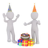 Cartoon Figures Wearing Hats at Birthday Party. 3d Rendering of Two Excited Cartoon Figures Wearing Party Hats and Standing near Pile of Gifts and Birthday Cake Royalty Free Stock Image