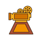 Cartoon film camera trophy awards gold wooden. Vector illustration eps 10 Stock Photography