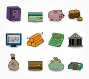 Cartoon Finance & Money Icon set. Drawing Stock Photography
