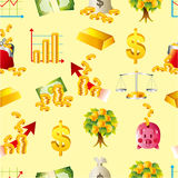 Cartoon Finance & Money seamless pattern. Drawing Stock Photography