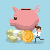 Cartoon and financial item. Businessman cartoon piggy and coin icon. Profit business and financial theme. Colorful design. Vector illustration Royalty Free Stock Photography