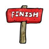 Cartoon finish sign. Retro cartoon with texture. Isolated on White Royalty Free Stock Photography