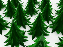 Cartoon Fir Forest. Stylized cartoon 3d fir trees, white background Royalty Free Stock Photography