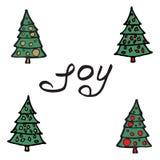 Cartoon fir-tree Greeting card - joy Stock Photos