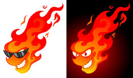 Cartoon fire. Smiling cartoon fire with on white and dark background Stock Images