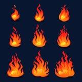 Cartoon fire animation design. Vector fireplace illustration for animation, games etc. Cartoon fire animation design. Vector fireplace illustration for animation royalty free illustration
