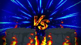 Cartoon fire animation. Flame loop background. Competition. Battle game. Versus icon. VS icon. royalty free illustration