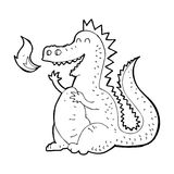 Cartoon fire breathing dragon. Black and White Line cartoon in retro style.  Vector available Royalty Free Stock Image