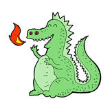 Cartoon fire breathing dragon. Hand drawn cartoon illustration in retro style.  Vector available Stock Image